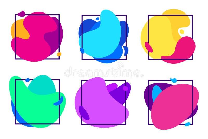 Plama gradientów kształty Organicznie fluid rama, futurystyczne kolorowe gradientowe ciecz ramy i zamazujący bezpłatnej formy wek ilustracja wektor
