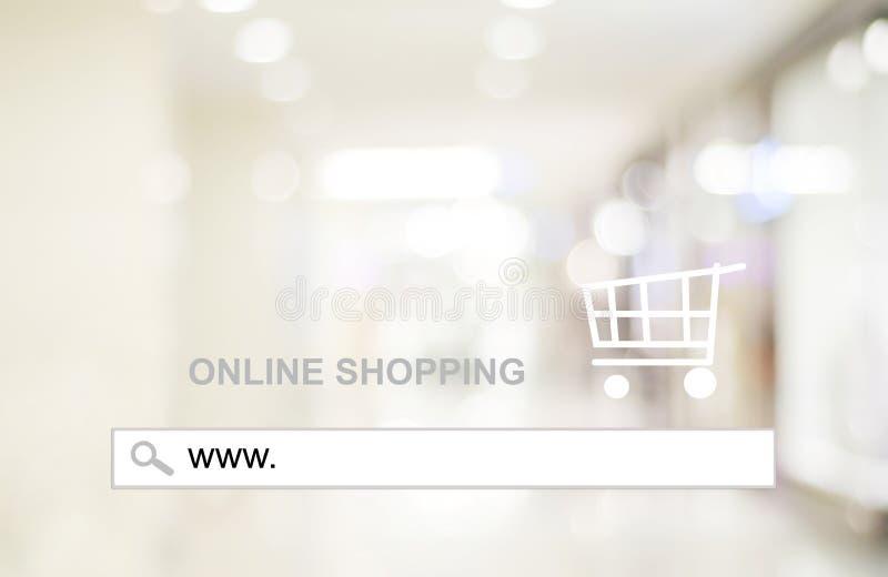 Plama sklep i bokeh światło z adresu barem, online zakupy tło obraz stock