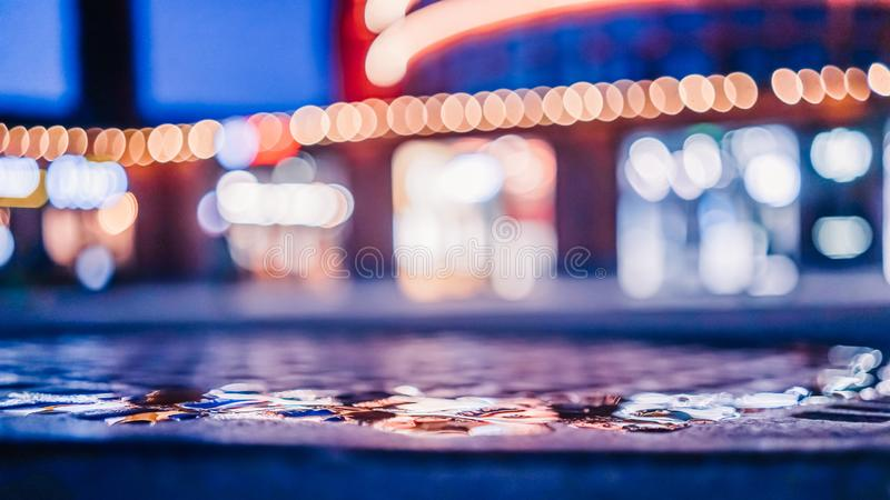 Plama skupiaj?cy si? miastowy abstrakcjonistyczny tekstury bokeh miasto za?wieca zdjęcia royalty free