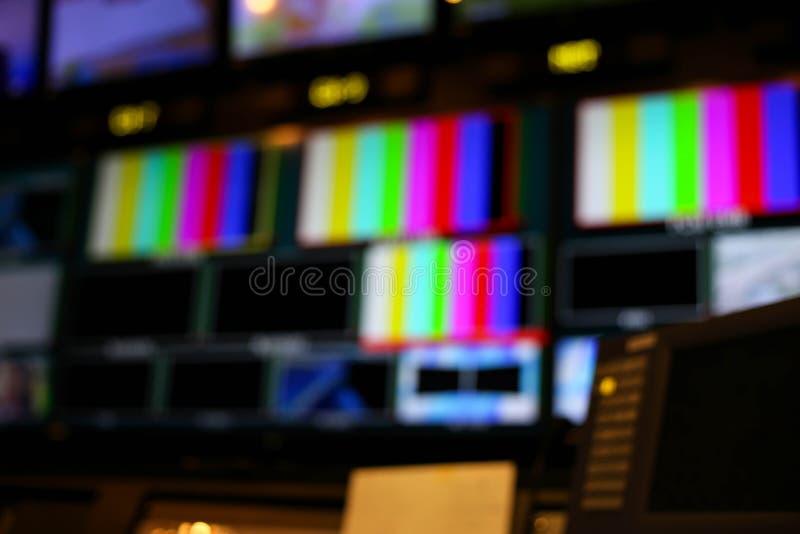 Plama Switcher zapina w pracownianym stacja telewizyjna audio P i wideo obrazy stock