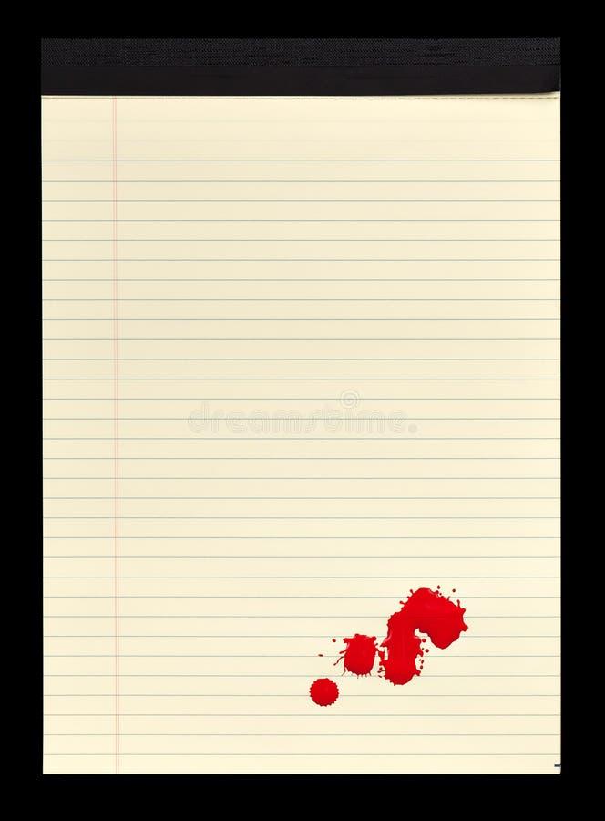 plamiący krwi notepad ii zdjęcie royalty free