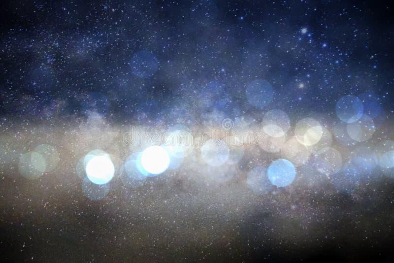 Plamy bokeh okrąg w galaxy milky sposobu tle zdjęcie royalty free