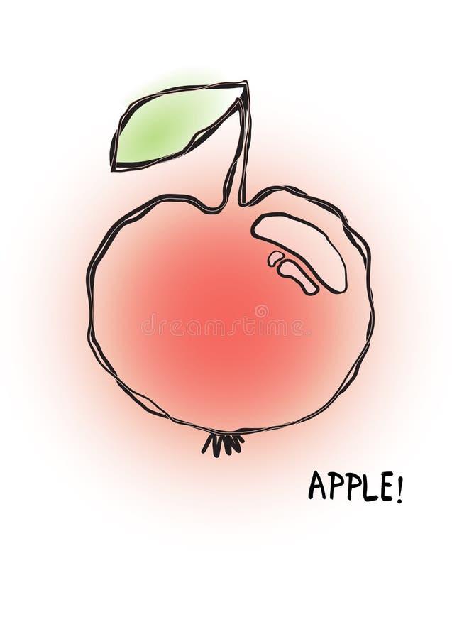Plamy i konturu jabłko ilustracja wektor