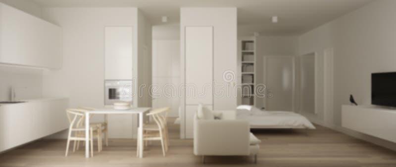 Plamy tła wewnętrzny projekt, jeden izbowy mieszkanie, mała kuchnia z stołem i kanapy Murphy łóżkiem parkietowymi i łomotają, wnę ilustracja wektor