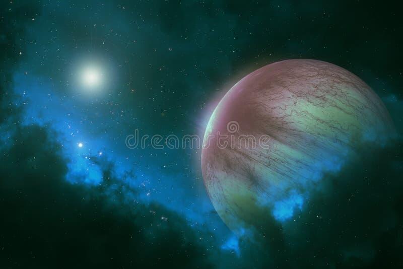 Planète éloignée avec les étoiles lumineuses dans la galaxie d'espace lointain illustration libre de droits