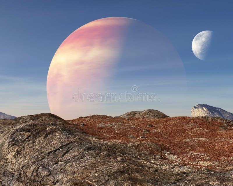Planète étrangère surréaliste, fond de lune photographie stock