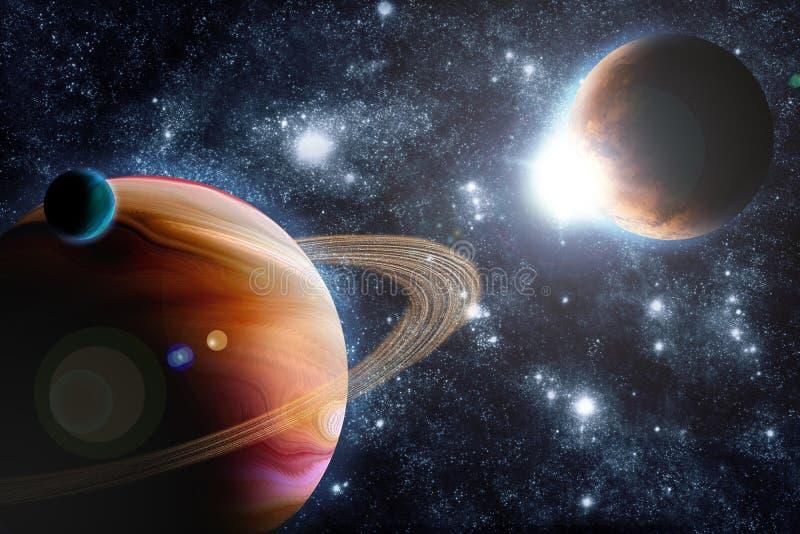 Planète abstraite avec l'épanouissement du soleil dans l'espace lointain illustration libre de droits