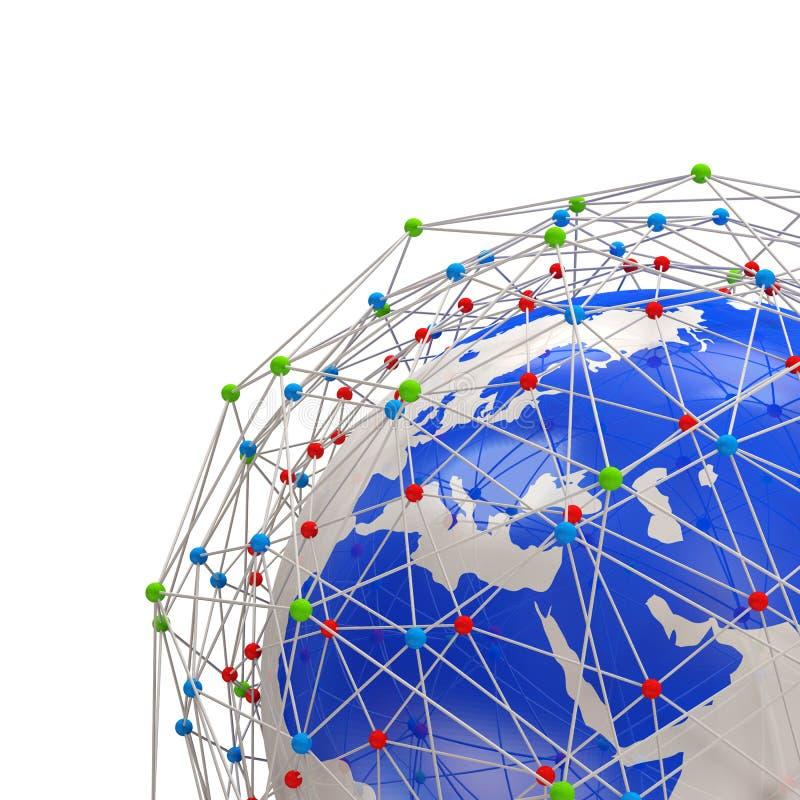 Planète abstraite de réseau d'isolement sur le backgrou blanc illustration libre de droits