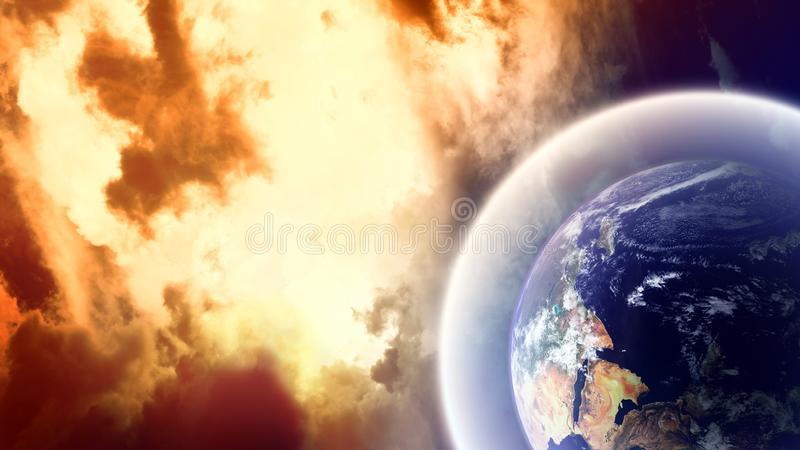Planète avec l'écran protecteur dans l'espace photo stock