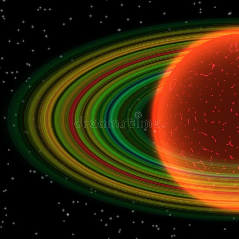 Planète avec l'anneau poussiéreux en univers lointain, abstrait illustration de vecteur