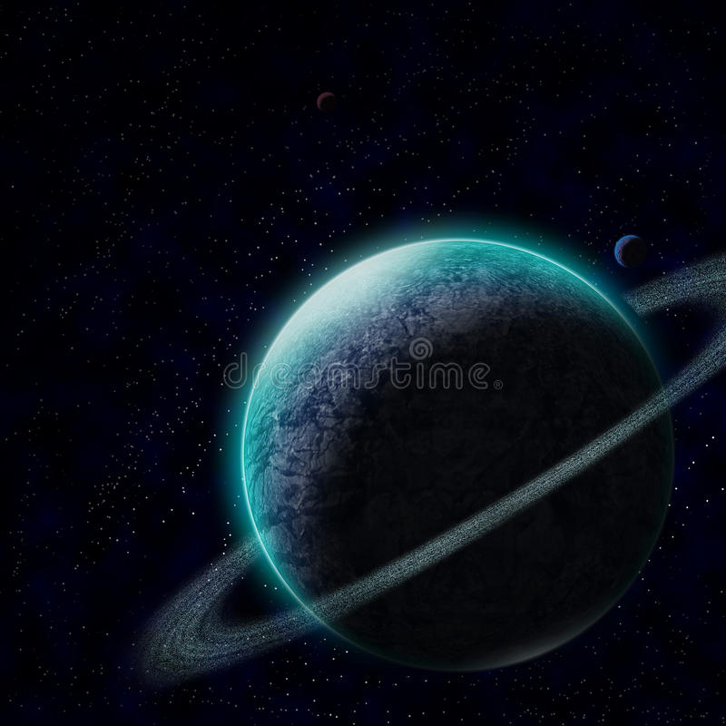 Planète avec le ciel étoilé illustration stock