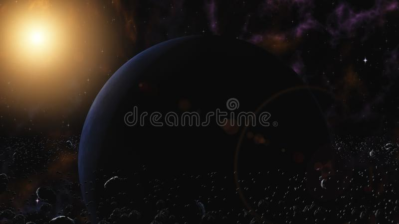 Planète bleue avec le système d'anneau des particules de glace et de l'étoile voisine orbitale de roches Espace extra-atmosphériq illustration de vecteur