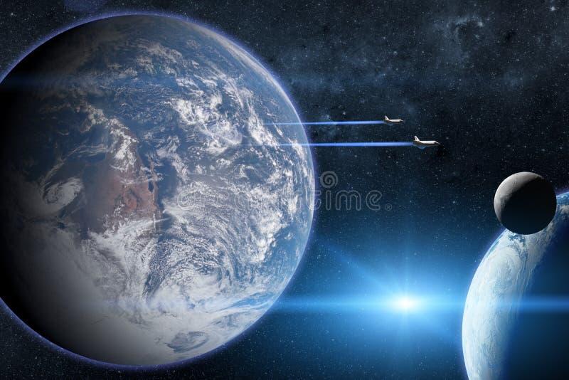 planète bleue de la terre Navettes spatiales décollant sur une mission photographie stock libre de droits