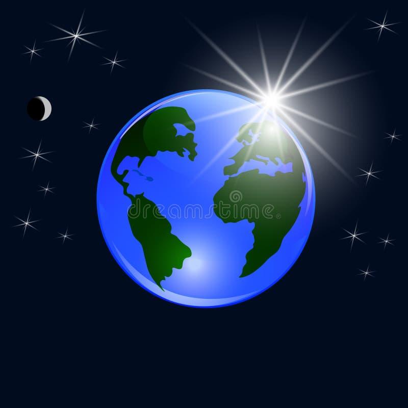 planète bleue de la terre Vue de l'espace à la terre et au Soleil Levant Boule brillante stylisée Illustration illustration de vecteur