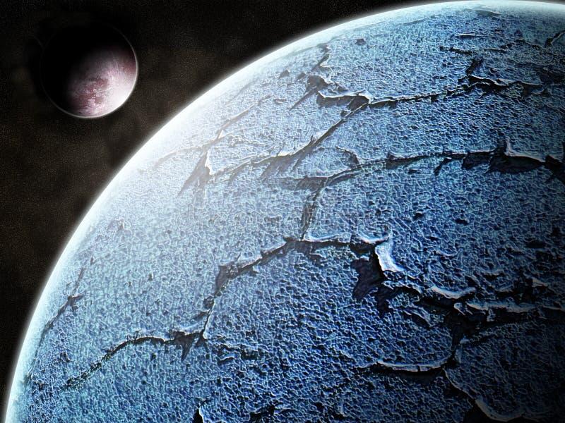 Planète bleue et son satellite illustration stock