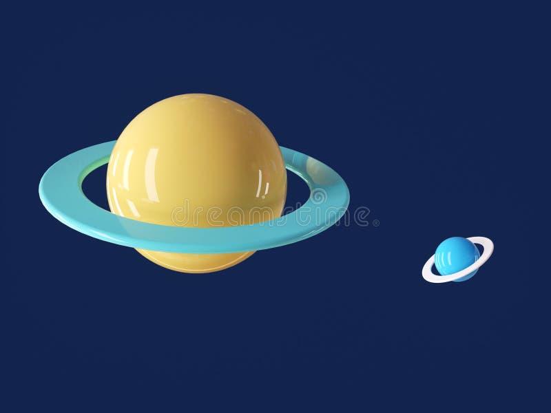 Planète cartoon colorée dans un univers bleu profond images stock
