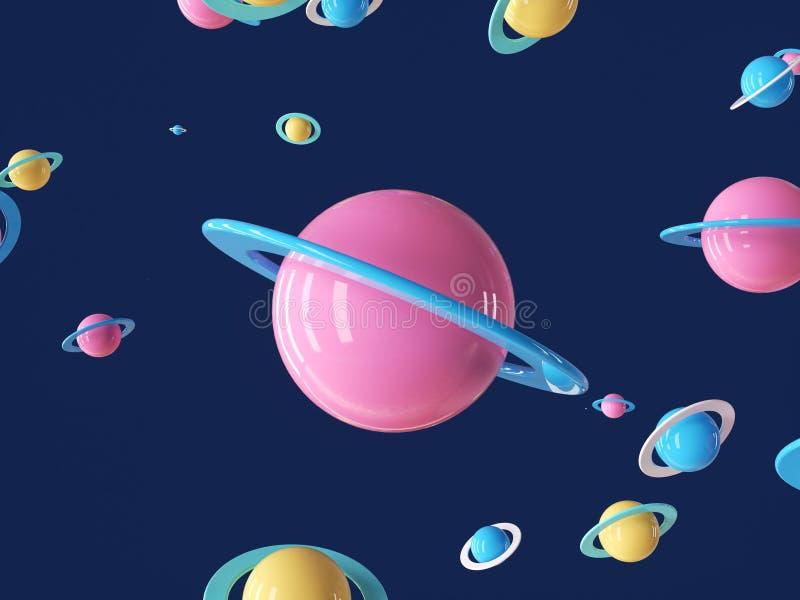 Planète cartoon colorée dans un univers bleu profond photos libres de droits