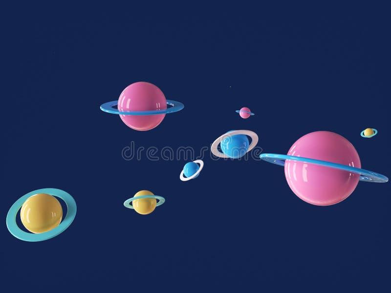 Planète cartoon colorée dans un univers bleu profond photo stock