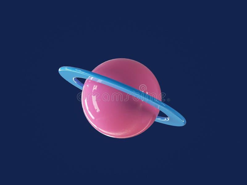 Planète cartoon colorée dans un univers bleu profond image stock