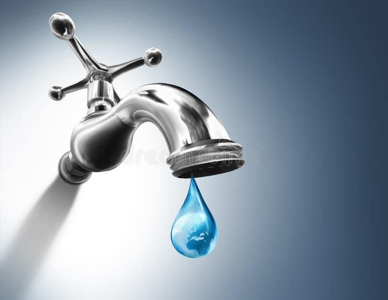 Planète dans la baisse de l'eau illustration stock