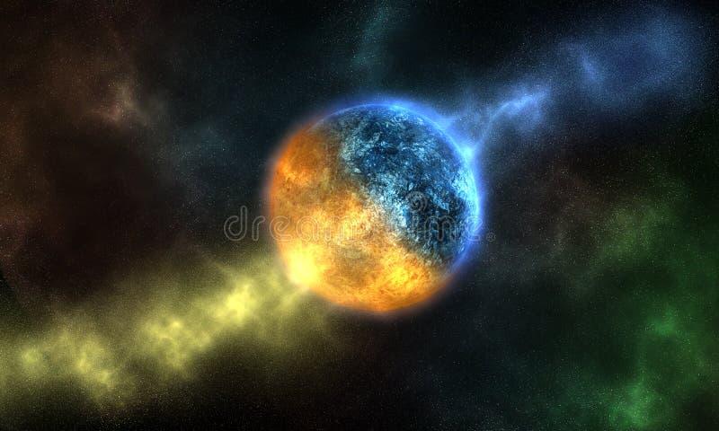 Planète de glace ou de l'eau et du feu, yang de yin illustration de vecteur
