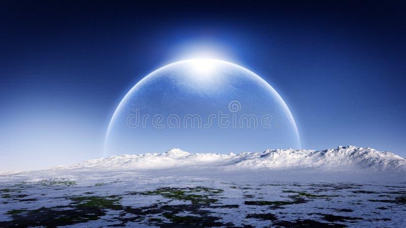 Planète de glace se levant sur l'horizon de paysage de glace illustration stock