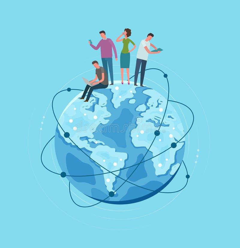 Planète de globe de la terre de métaphore Réseau global, communication Illustration de vecteur illustration stock