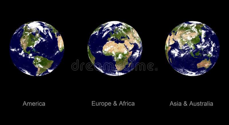 Planète de la terre, trois angles illustration libre de droits