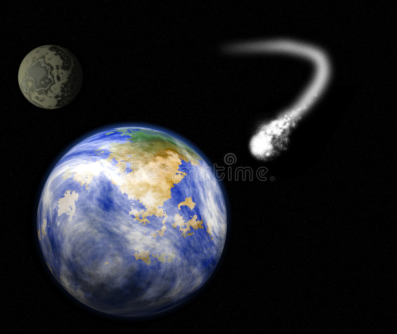 planète de lune de la terre de comète illustration stock