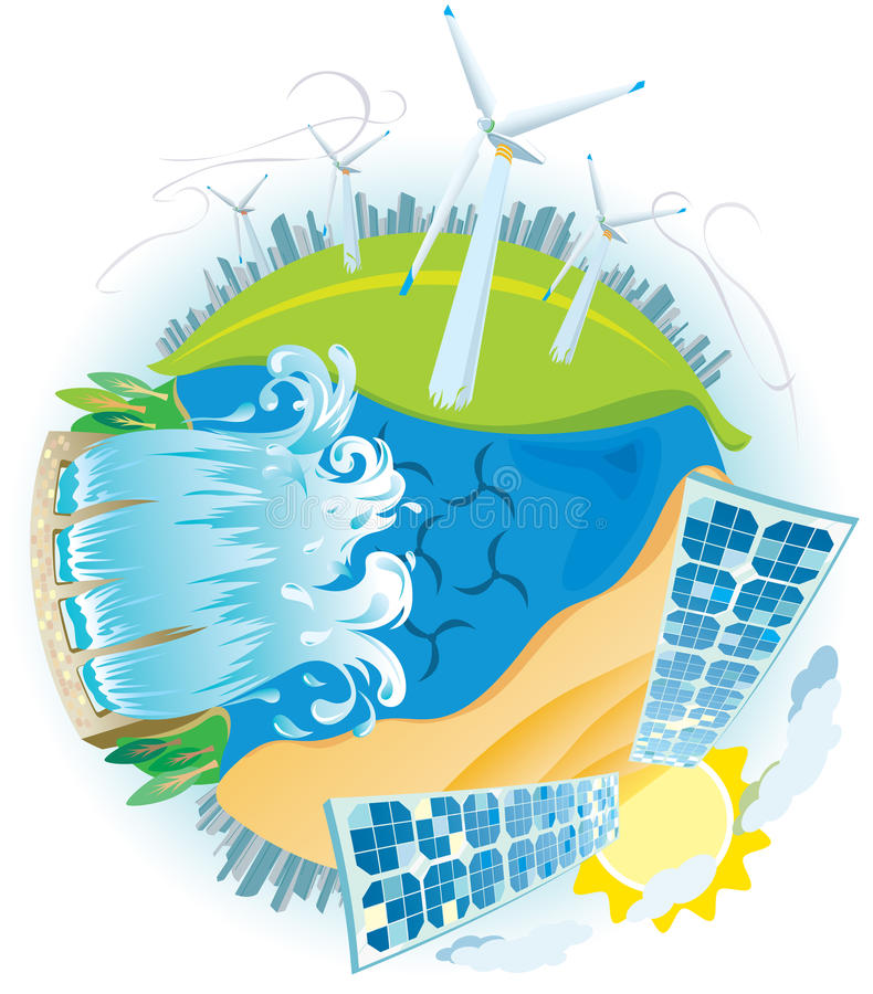 Planète de pouvoir vert d'ECO illustration libre de droits