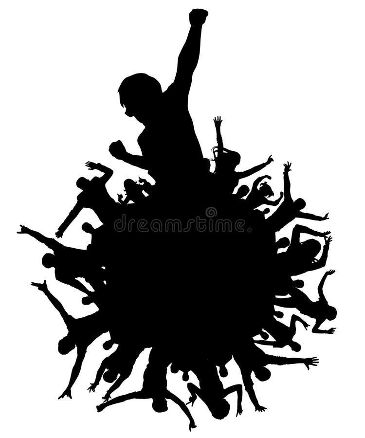 Planète de silhouette heureuse de personnes Les personnes encourageantes de foule d'applaudissements font la fête, disco, concert illustration de vecteur
