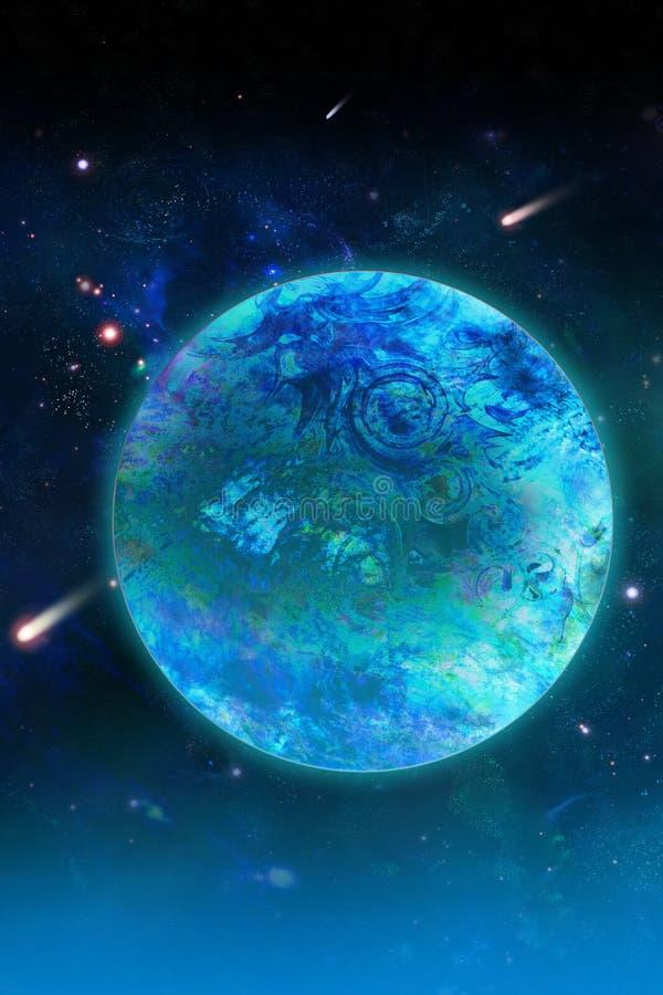 Planète et comète bleues illustration stock