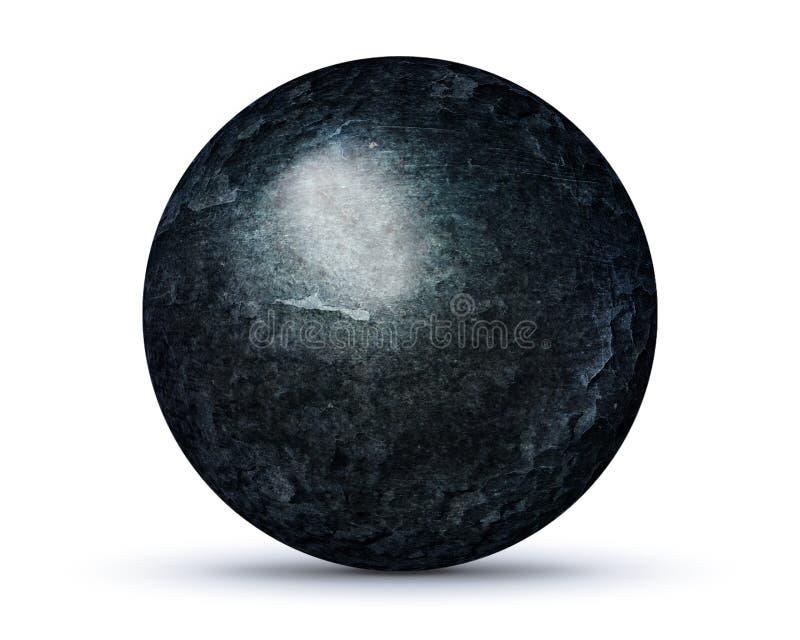Planète foncée de roche sur le blanc illustration libre de droits