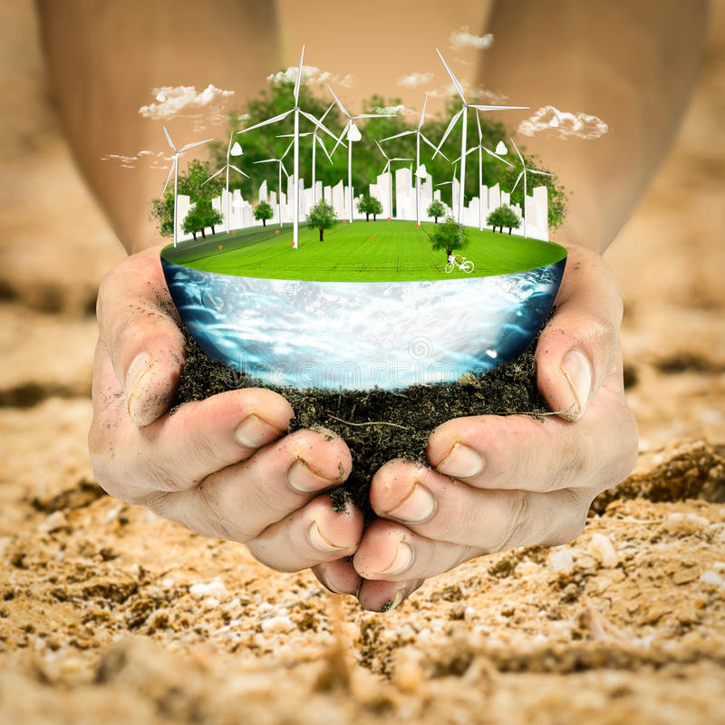 planète fraîche de vert d'herbe de globe de la terre de concept Environnement propre d'écologie de nature de turbine de vent image stock