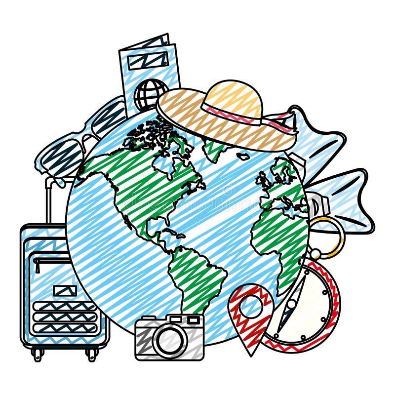 Planète globale de griffonnage avec des objets de voyage de voyage illustration de vecteur