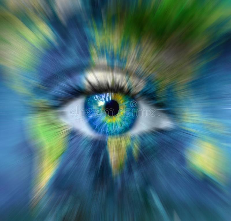Planète le terre et bleu humain oeil dans mouvement tache flou - heure passant pour - de concept de la terre de planète \ les «é photos libres de droits