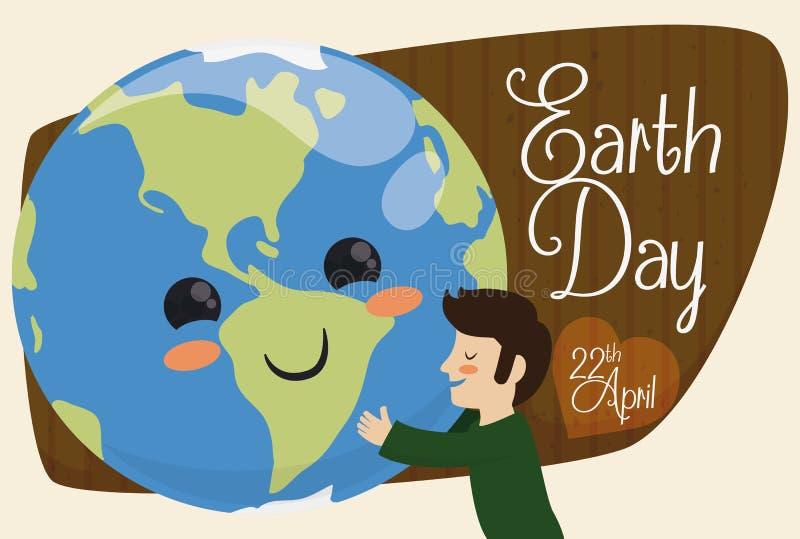 Planète mignonne d'embrassement d'humanité pour des vacances de jour de terre, illustration de vecteur illustration de vecteur