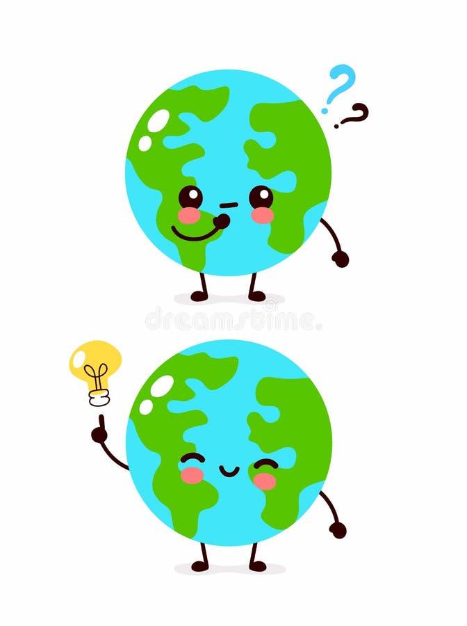 Planète mignonne heureuse de la terre avec le point d'interrogation illustration stock