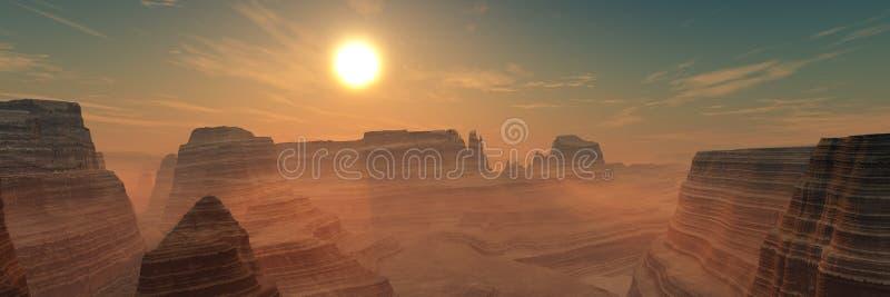 Planète rouge, paysage panoramique de Mars images stock