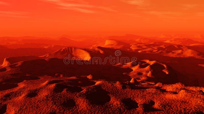 Planète rouge, paysage panoramique de Mars images libres de droits