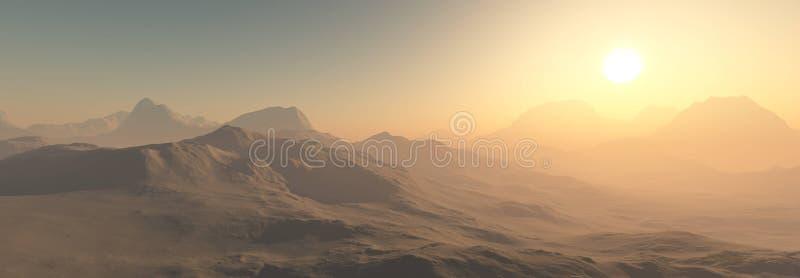 Planète rouge, paysage panoramique de Mars photographie stock libre de droits