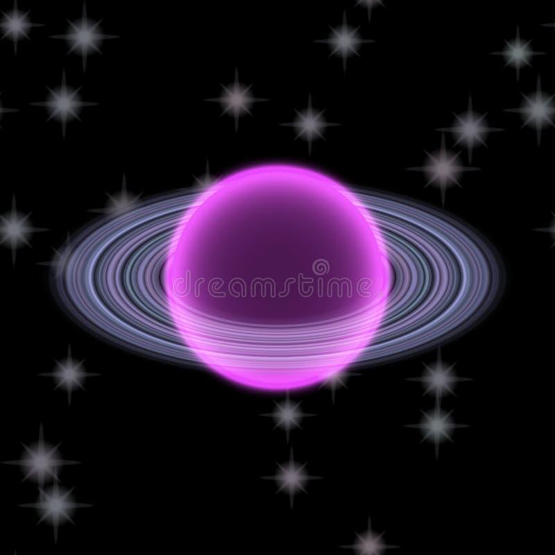 Planète Shinning dans l'uniferse lointain Planète abstraite avec l'anneau coloré quelque part illustration de vecteur