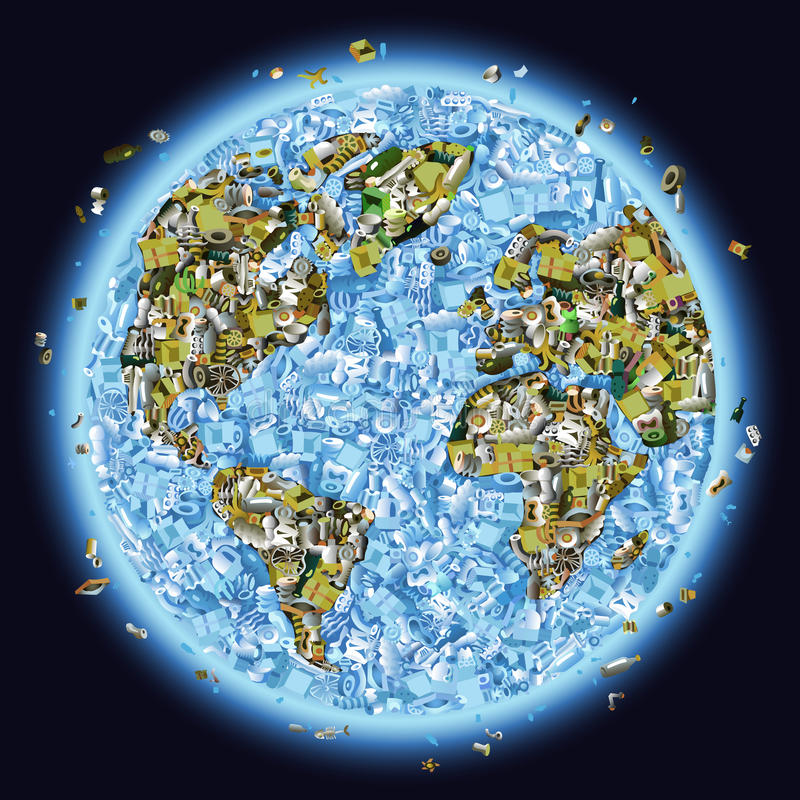 Planète Trashed illustration de vecteur