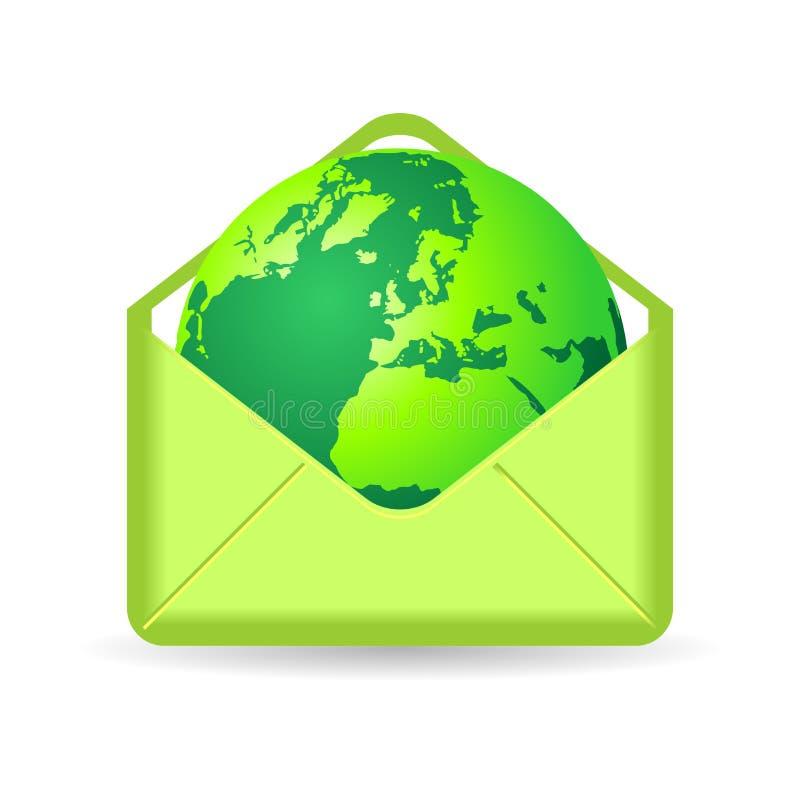 Planète verte à l'intérieur d'enveloppe illustration stock