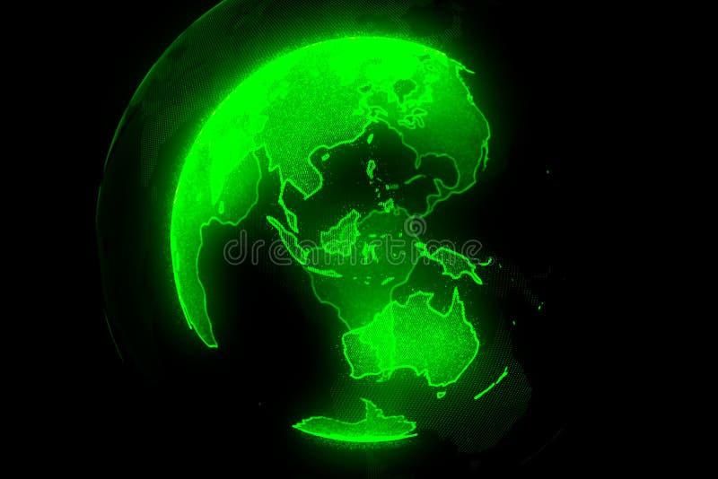 Planète verte de Digital de la terre Globe avec les continents brillants illustration 3D avec la terre numérique et des particule illustration stock