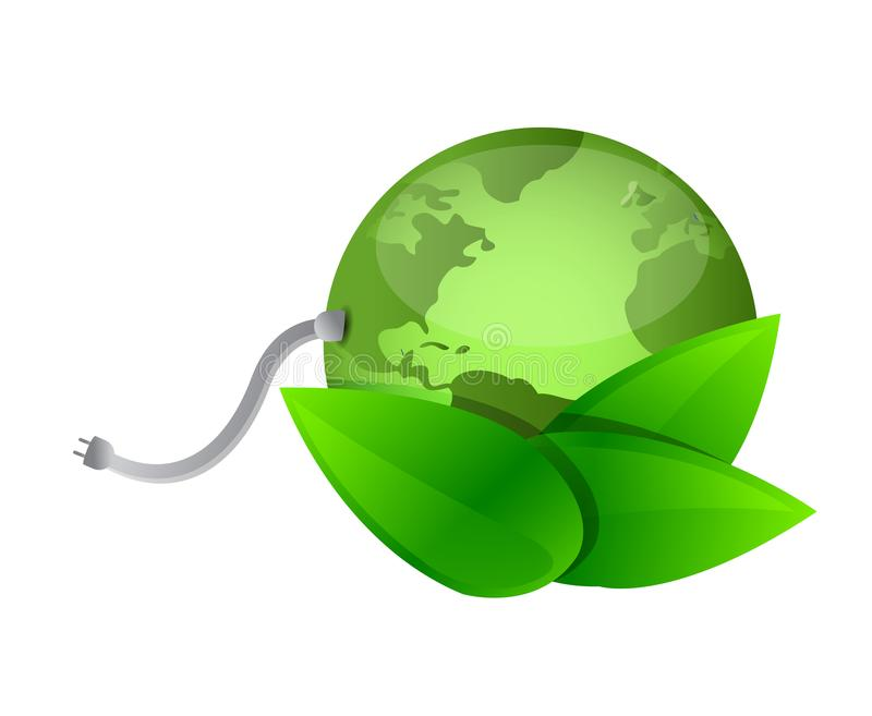 Planète verte, illustration verte de concept de câble d'énergie illustration libre de droits