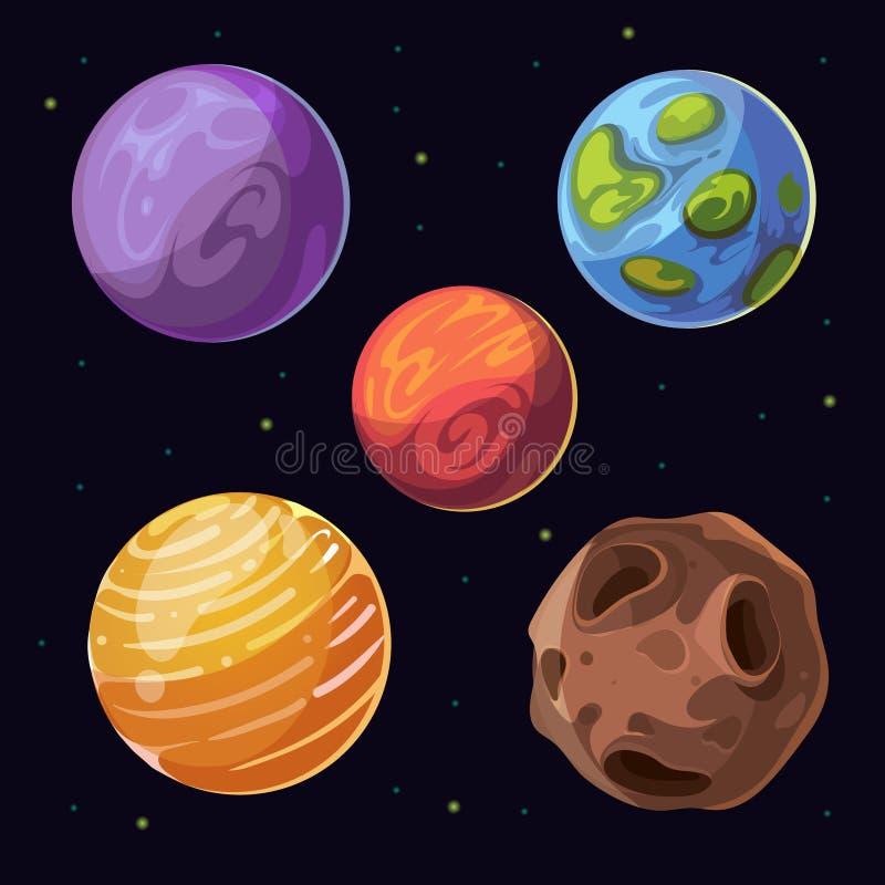 Planètes étrangères de bande dessinée, lunes en forme d'étoile sur le fond de l'espace illustration de vecteur