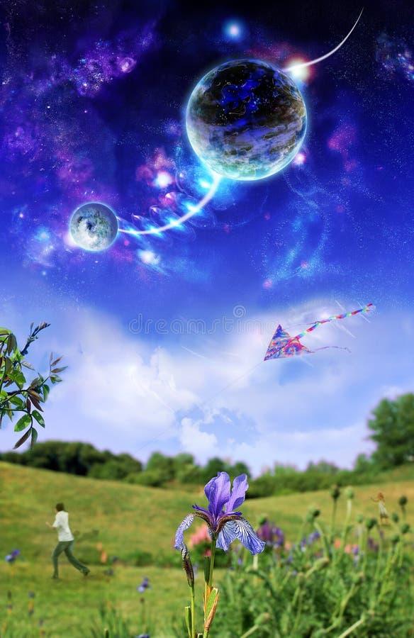 Planètes au-dessus de la terre illustration stock