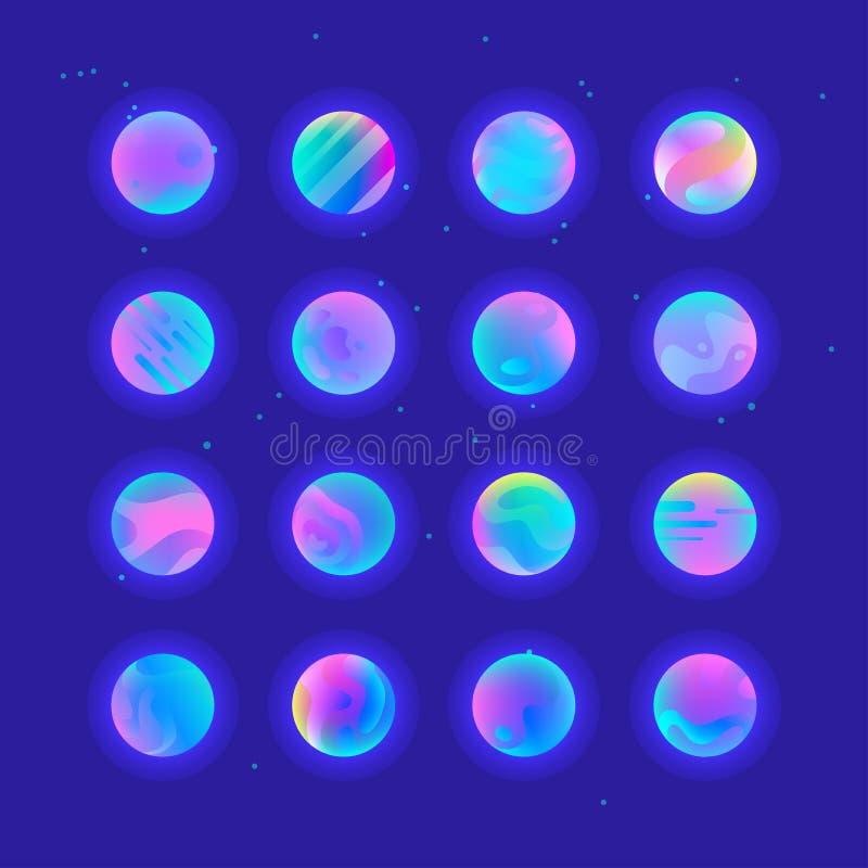 Planètes au néon de gradient illustration stock