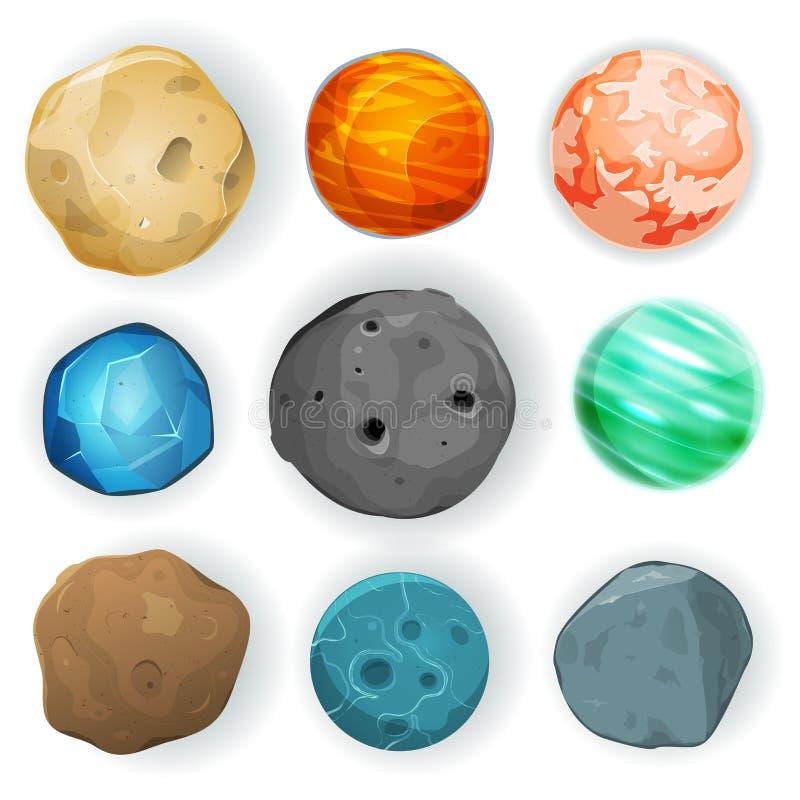 Planètes comiques réglées illustration stock